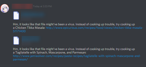 Discord detects viruses and suggests food recipes! : discordapp